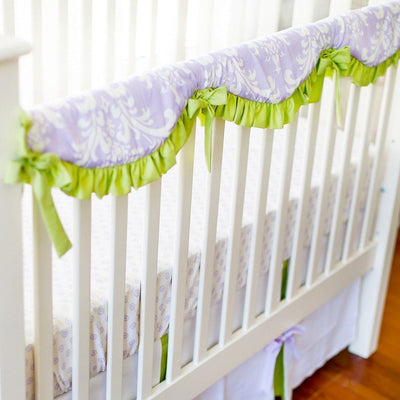 Crib Rail Cover | Lavender Damask Sweet Violet-Crib Rail Cover-Jack and Jill Boutique