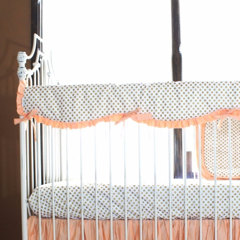 Crib Rail Cover Metallic Gold Dot With Coral Mint