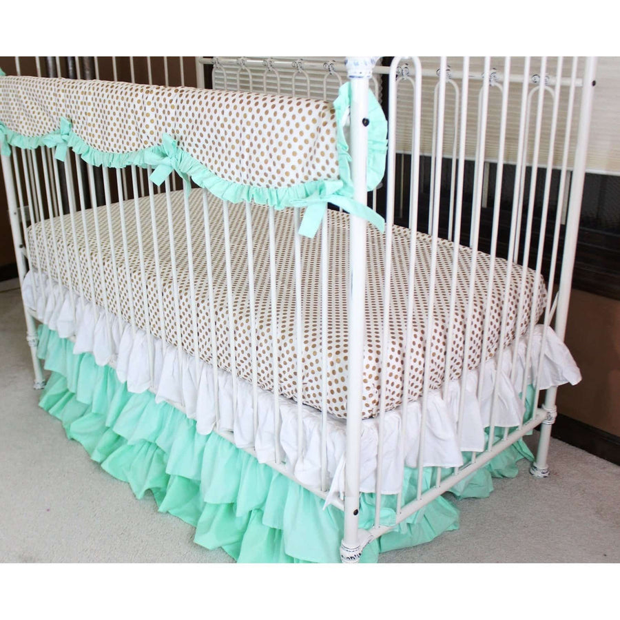 Crib Rail Cover | Metallic Gold Dot with Coral/Mint Ruffles-Crib Rail Cover-Do Not Personalize-Jack and Jill Boutique