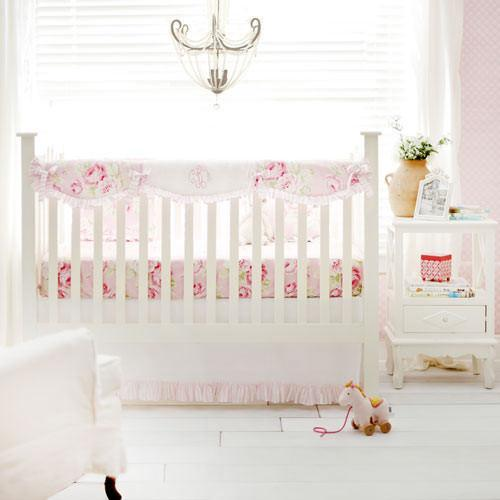 Crib Rail Cover with Monogram | Pink Floral Pink Desert Rose