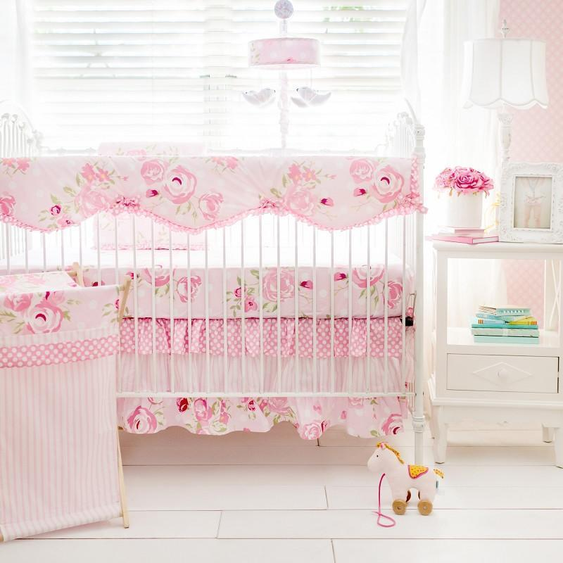 Crib Rail Cover  | Rosebud Lane Floral Crib Baby Bedding Set