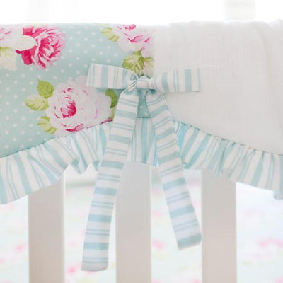Crib Rail Cover | Sadie's Dance in Aqua Bumperless-Crib Rail Cover-Jack and Jill Boutique