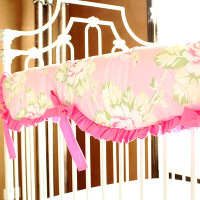 Crib Rail Cover | Shabby Chic Roses Ruffle-Crib Rail Cover-Jack and Jill Boutique