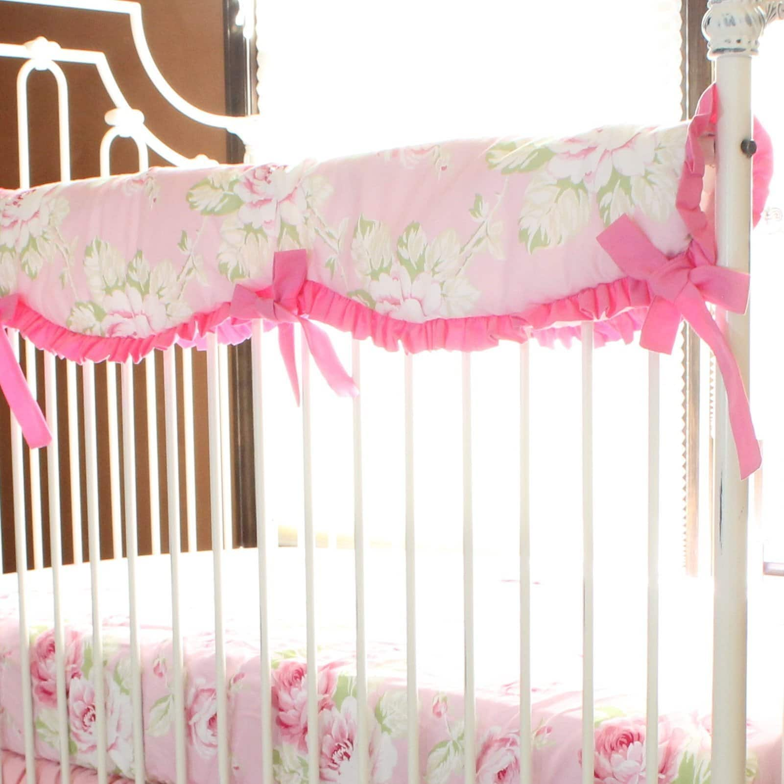 Crib Rail Cover With Monogram Pink Floral Pink Desert