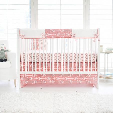 Crib Rail Cover | Wanderlust in Coral White and Coral
