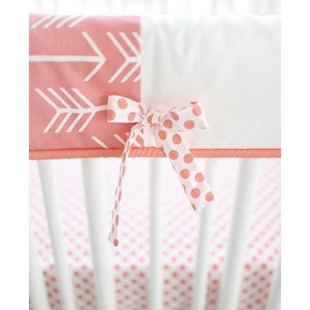 Crib Rail Cover | Wanderlust in Coral White and Coral-Crib Rail Cover-Jack and Jill Boutique