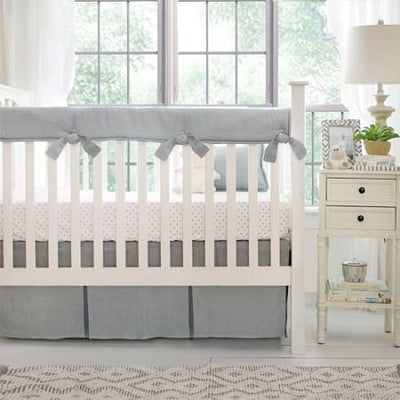 Crib Rail Cover | Washed Linen in Gray-Crib Rail Cover-Jack and Jill Boutique
