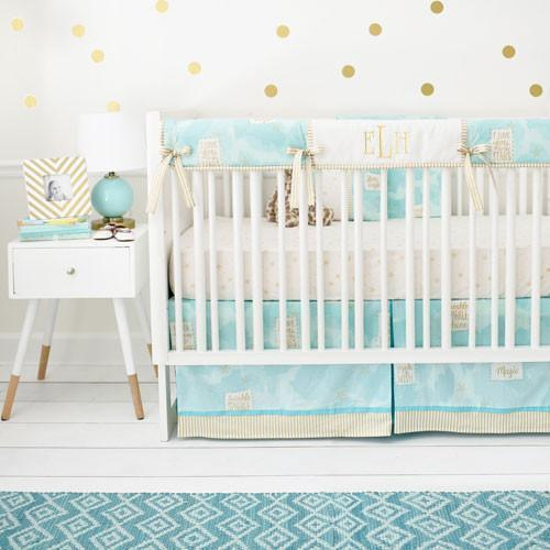 Crib Rail Cover | You Are Magic in Aqua-Crib Rail Cover-Jack and Jill Boutique