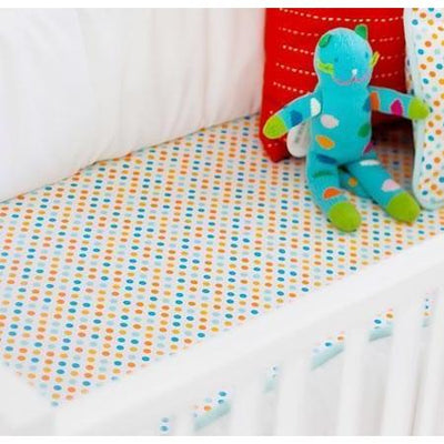 crib sheet aqua orange polka dot carnival crib baby bedding set