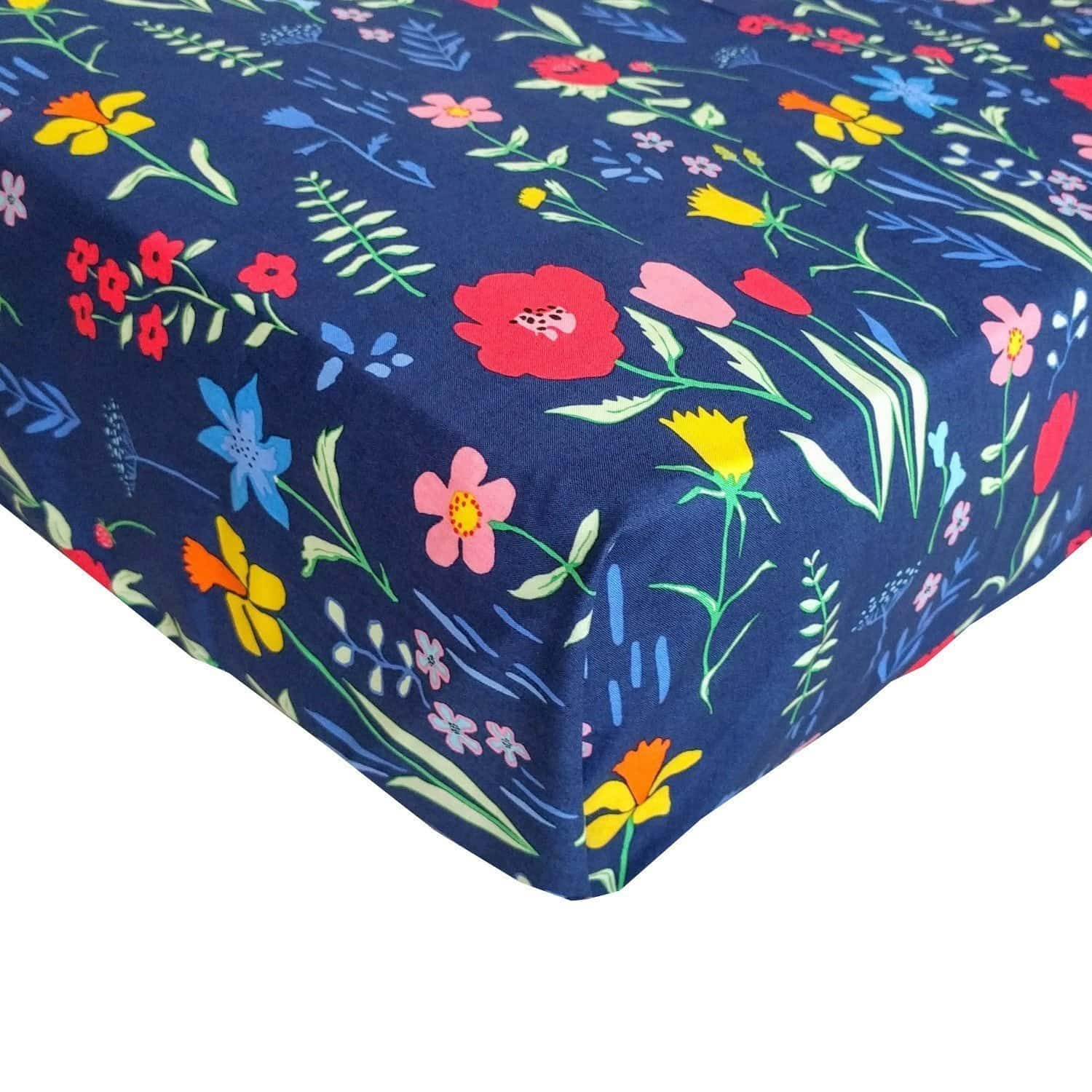 Changing pad cover | Berkeley's Navy Floral Baby Bedding-Changing Pad Cover-Default-Jack and Jill Boutique