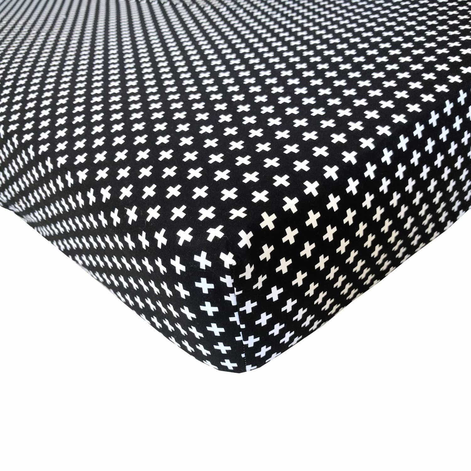 Crib Sheet | Black Swiss Cross Black and White Crib Baby Bedding-Crib Sheets-Default-Jack and Jill Boutique