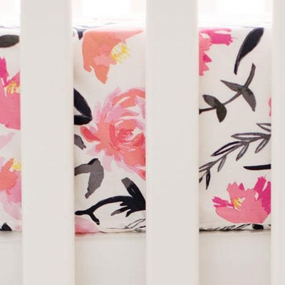 Crib Sheet | Floral Rosewater in Coral-Crib Sheets-Default-Jack and Jill Boutique