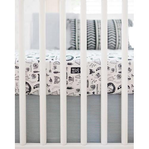 Crib Sheet - Forest Dreaming | Black and White Adventure Awaits-Crib Sheets-Default-Jack and Jill Boutique