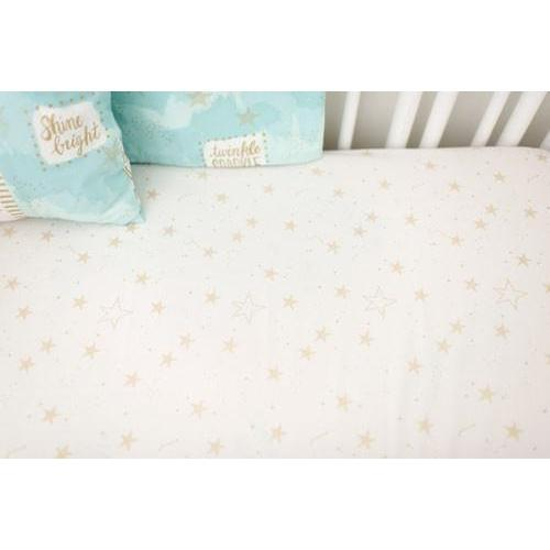 Crib Sheet - Gold Star | You Are Magic in Aqua-Crib Sheets-Default-Jack and Jill Boutique