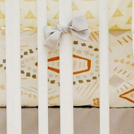 Crib Sheet | Gray & Gold Tribal Head West Crib Bedding Set-Crib Sheets-Default-Jack and Jill Boutique