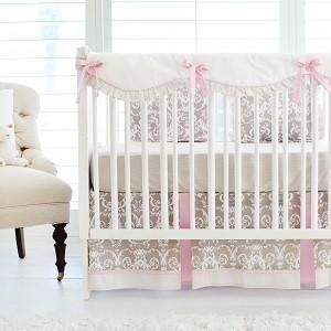 Crib Sheet | Halle Damask Crib Baby Bedding Set-Crib Sheets-Default-Jack and Jill Boutique