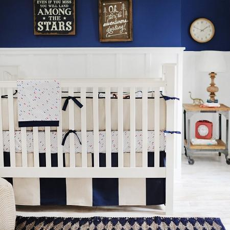 Crib Sheet | Happy Camper Navy and White Crib Baby Bedding Set-Crib Sheets-Default-Jack and Jill Boutique