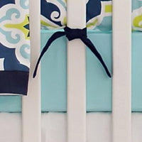 Crib Sheet | Lime Green & Navy Starburst in Kiwi Crib Baby Bedding Set-Crib Sheets-New Arrivals-Jack and Jill Boutique