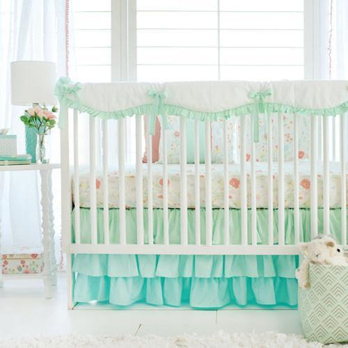 Crib Sheet | Mint Spring Floral Crib Baby Bedding Set ...