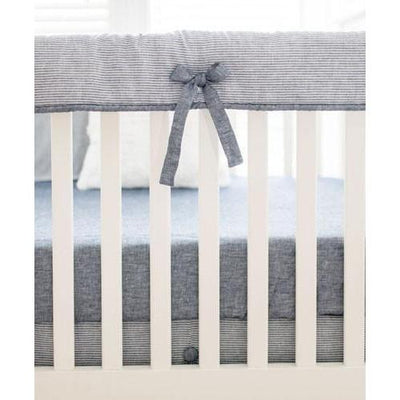 Crib Sheet | Navy Washed Linen Indigo Stripe Baby Bedding Set-Crib Sheets-Default-Jack and Jill Boutique