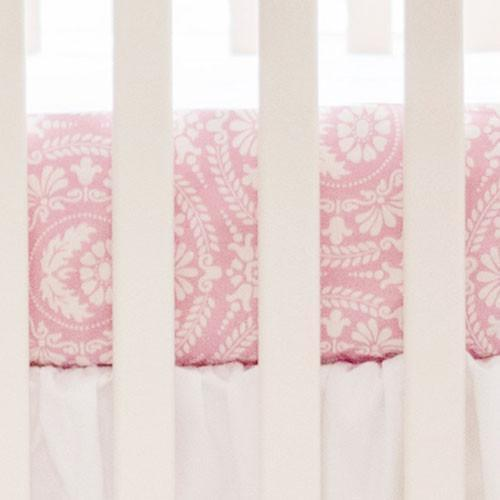 Crib Sheet | Pink Damask White Collection-Crib Sheets-New Arrivals-Jack and Jill Boutique