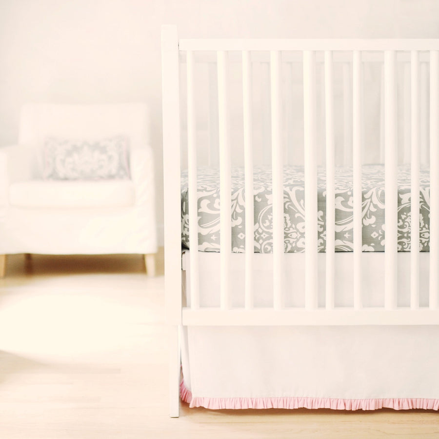 Crib Sheet | Sweet & Simple Seperates - White with Pink Ruffle Crib Baby Bedding Set