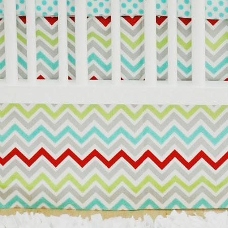 Crib Skirt | Aqua Chevron Jellybean Parade-Crib Skirt-Jack and Jill Boutique