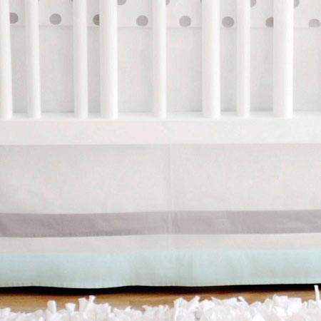 Crib Skirt | Aqua & Gray Wink-Crib Skirt-Jack and Jill Boutique
