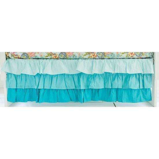 Crib Skirt | Aqua Ombre 3 Tier Waterfall Ruffled-Crib Skirt-Jack and Jill Boutique