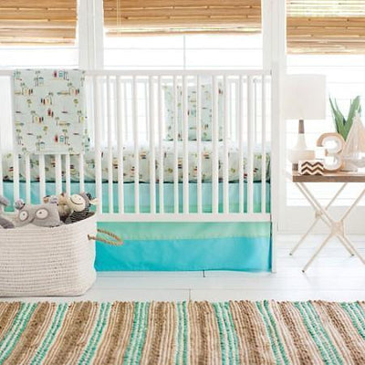 Crib Skirt | Aqua Ombre Tailored-Crib Skirt-Jack and Jill Boutique