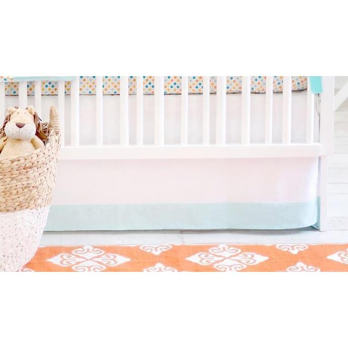 Crib Skirt | Aqua & Orange Polka Dot Carnival-Crib Skirt-Jack and Jill Boutique