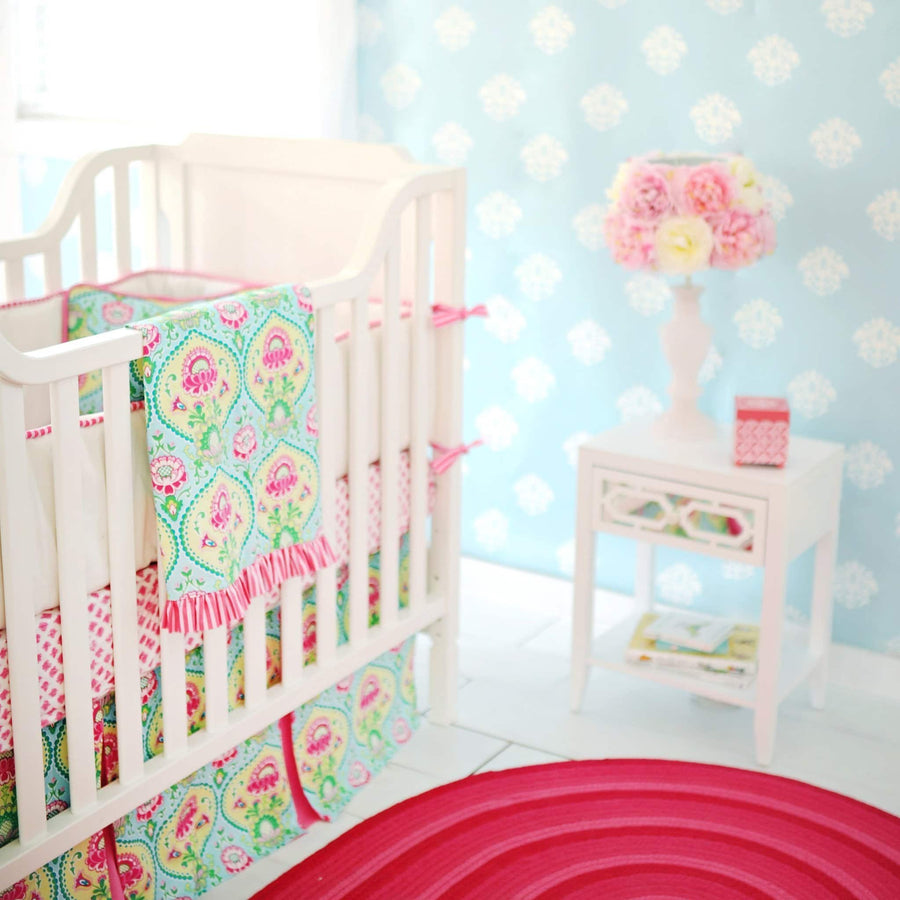 Crib Skirt | Aqua & Pink Floral Layla Rose-Crib Skirt-Jack and Jill Boutique