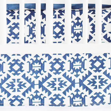 Crib Skirt | Arizona in Blue-Crib Skirt-Jack and Jill Boutique