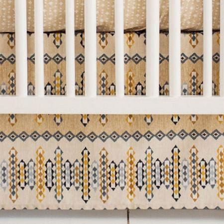 Crib Skirt | Aztec Navajo in Gold-Crib Skirt-Jack and Jill Boutique