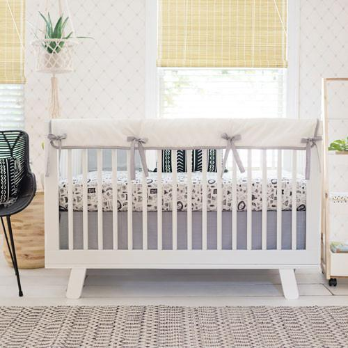 Crib Skirt | Black and White Adventure Awaits-Crib Skirt-Jack and Jill Boutique