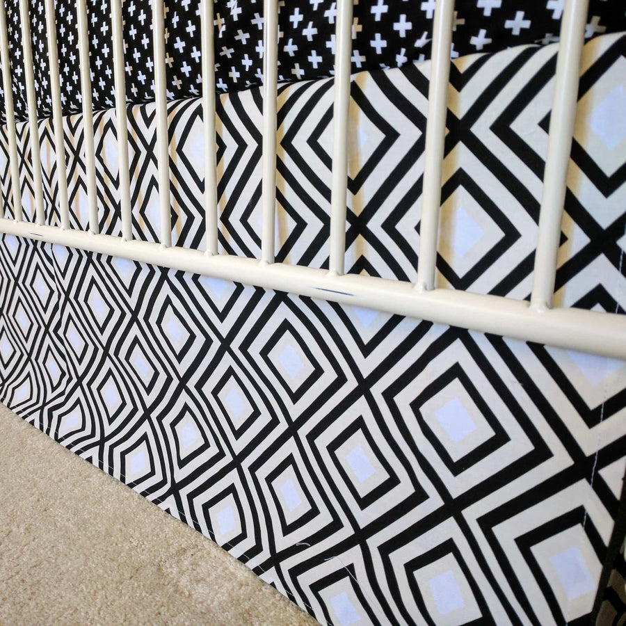 Crib Skirt | Black and White Swiss Cross-Crib Skirt-Jack and Jill Boutique