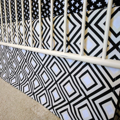 crib skirt black and white swiss cross