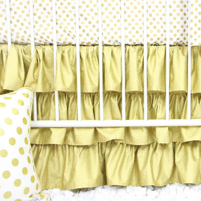 Crib Skirt | Black & Gold Aztec Ruffle-Crib Skirt-Default-Jack and Jill Boutique