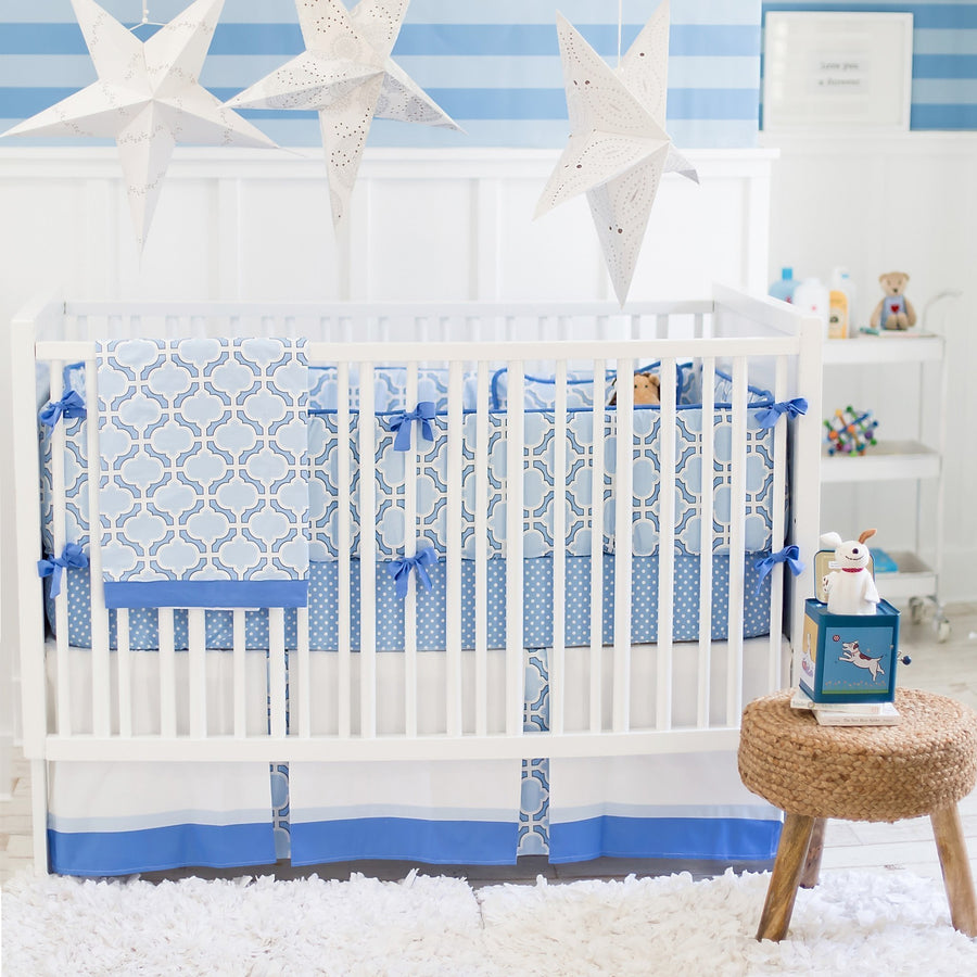 Crib Skirt | Blue and White Carousel-Crib Skirt-Jack and Jill Boutique