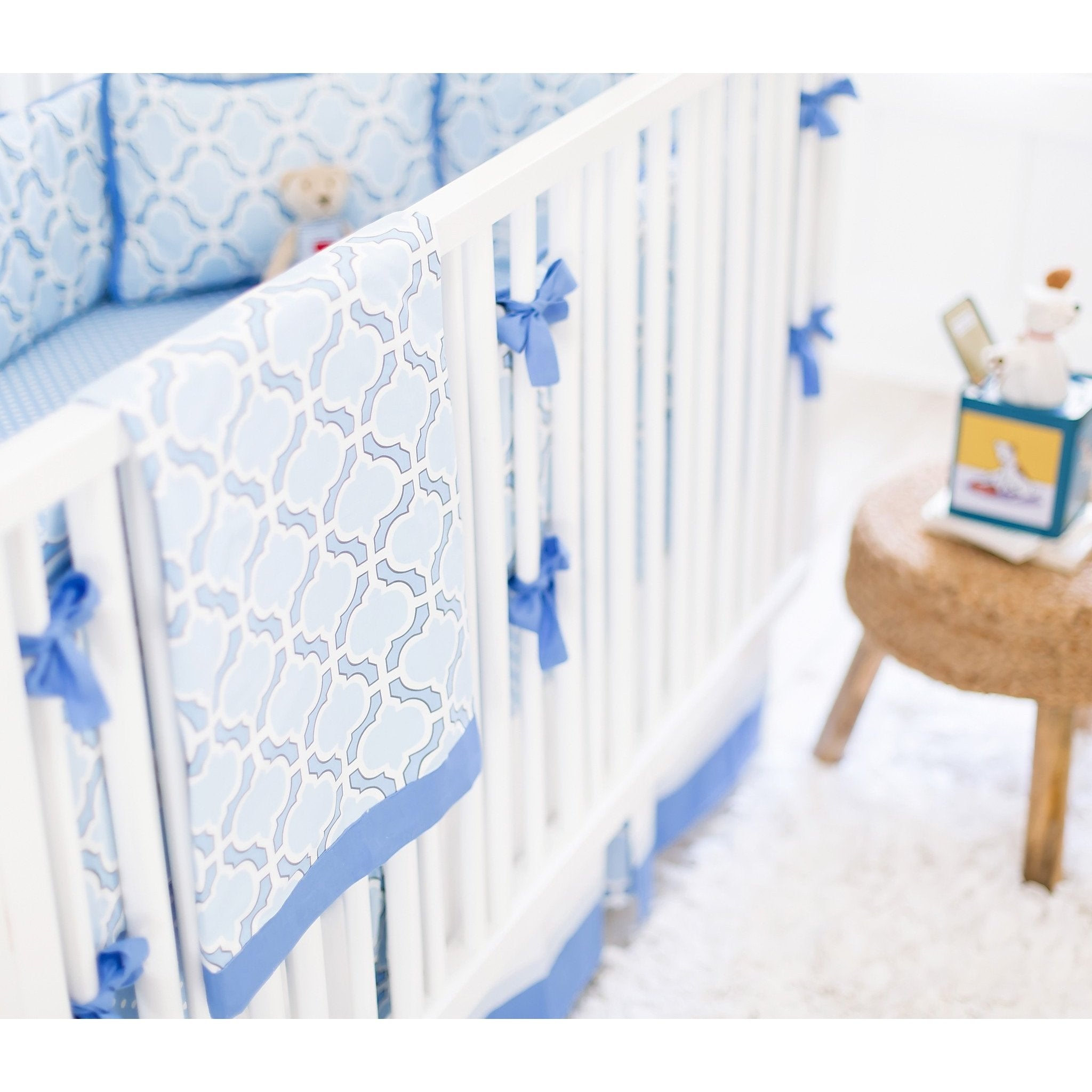 Crib Skirt | Blue and White Carousel-Crib Skirt-New Arrivals-Jack and Jill Boutique