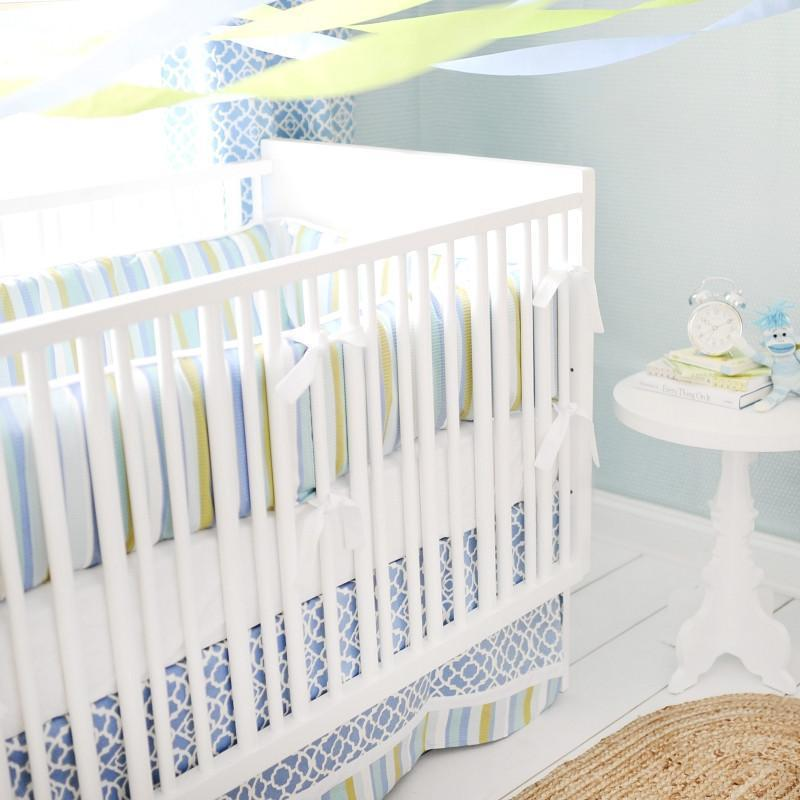 Crib Skirt | By The Bay Baby Blue White and Green-Crib Skirt-Jack and Jill Boutique