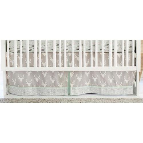 Crib Skirt | Deer Buck Forest in Mist-Crib Skirt-Jack and Jill Boutique
