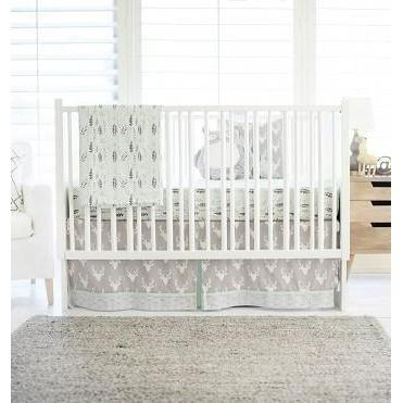 Crib Skirt Deer Buck Forest In Mist Jack And Jill Boutique