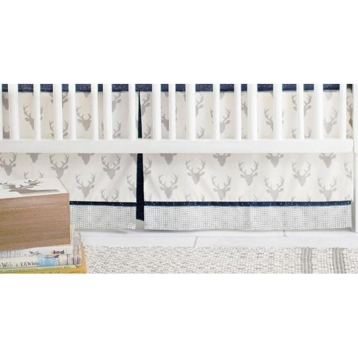 Crib Skirt | Deer Buck Forest in Silver-Crib Skirt-Jack and Jill Boutique