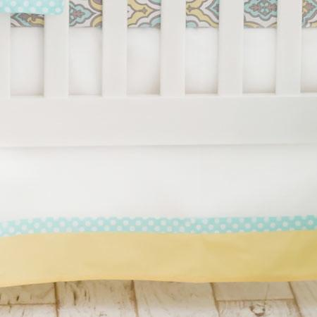 Crib Skirt | Dreamweaver Yellow and Aqua-Crib Skirt-Jack and Jill Boutique