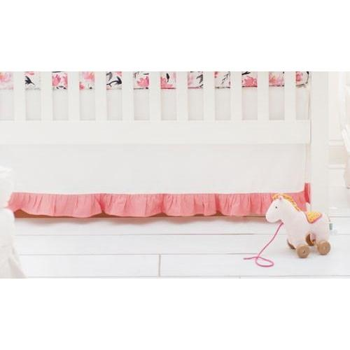 Crib Skirt | Floral Rosewater in Coral-Crib Skirt-Jack and Jill Boutique