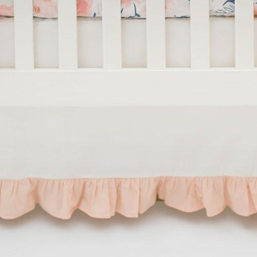 Crib Skirt | Floral Rosewater in Peach-Crib Skirt-Jack and Jill Boutique