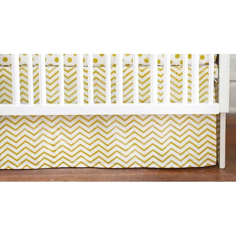 Crib Skirt | Gold Burst Metallic Chevron