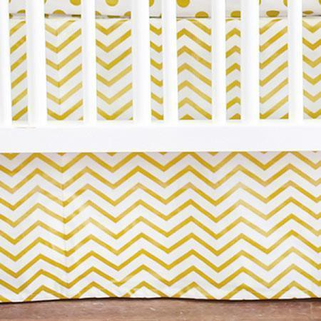 Crib Skirt | Gold Burst Metallic Chevron-Crib Skirt-Jack and Jill Boutique