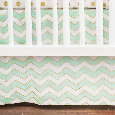 Crib Skirt | Gold Rush in Mist-Crib Skirt-Jack and Jill Boutique
